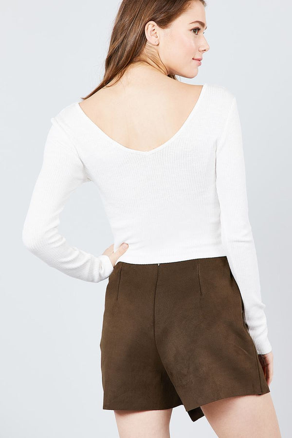 Long Sleeve Double V-neck Rib Knit Top demochatbot
