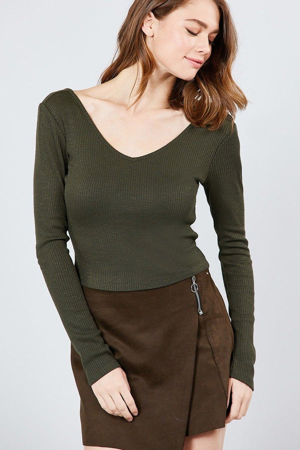 Long Sleeve Double V-neck Rib Knit Top demochatbot Olive S