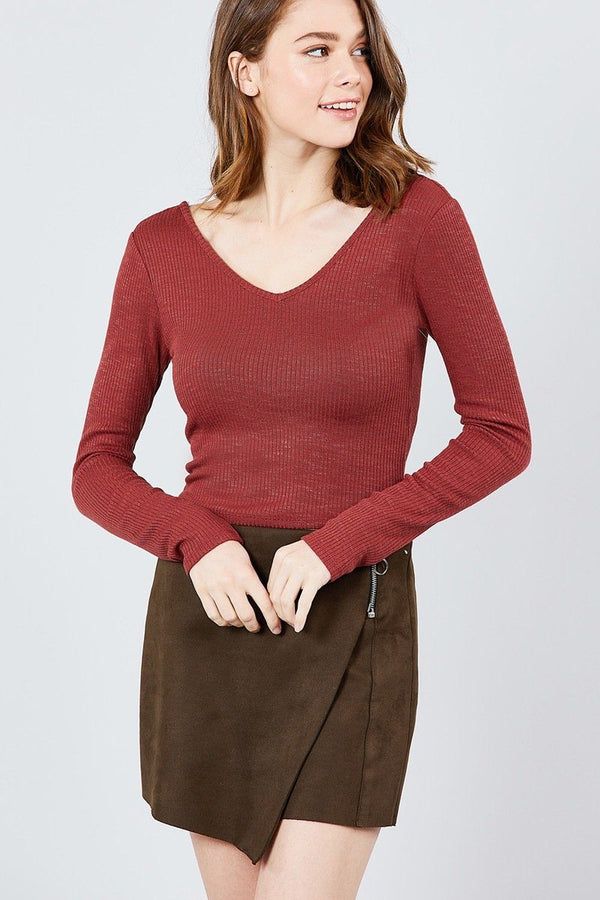 Long Sleeve Double V-neck Rib Knit Top demochatbot Rust S