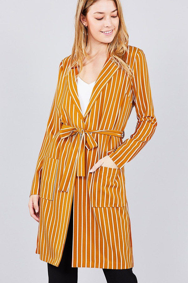 Long sleeve notched collar open front striped long jacket demochatbot