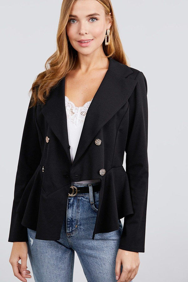 Long Sleeve Notched Lapel Collar Double Breasted Ruffle Hem Jacket demochatbot