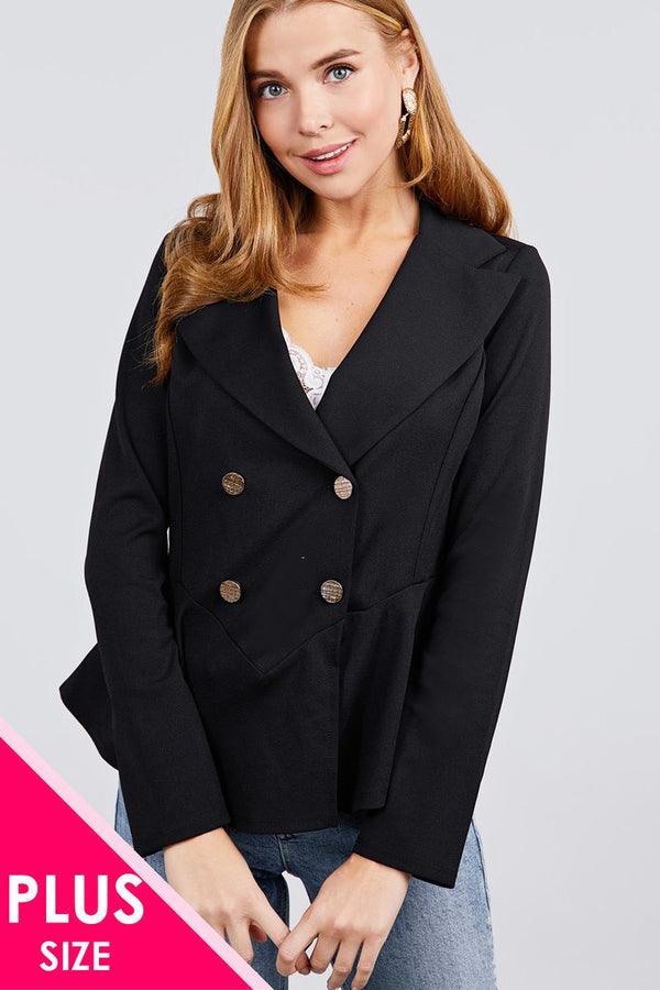 Long Sleeve Notched Lapel Collar Double Breasted Ruffle Hem Jacket demochatbot Black XL