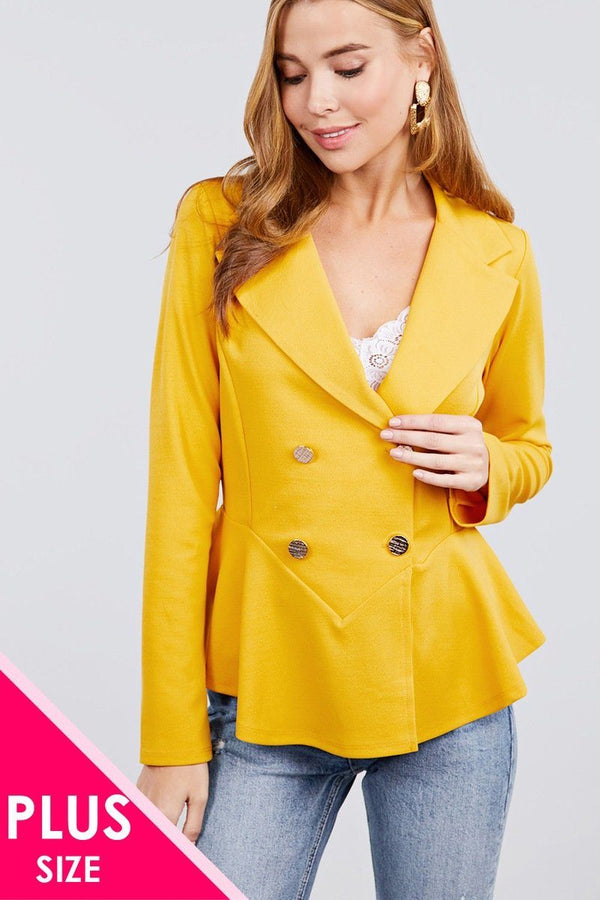 Long Sleeve Notched Lapel Collar Double Breasted Ruffle Hem Jacket demochatbot Mustard XL