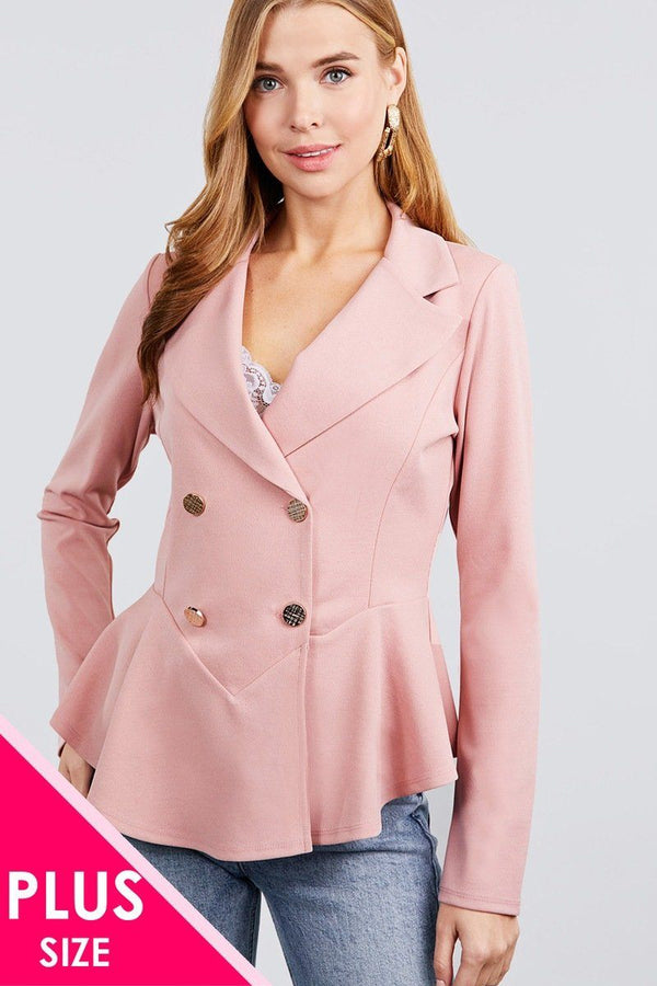 Long Sleeve Notched Lapel Collar Double Breasted Ruffle Hem Jacket demochatbot Pink XL
