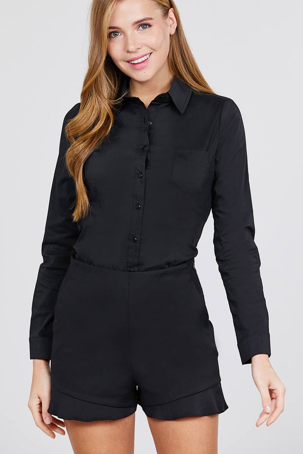 Long Sleeve Princess Line One Side Pocket Button Down Woven Shirts demochatbot Black S