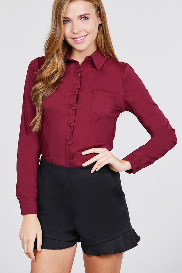 Long Sleeve Princess Line One Side Pocket Button Down Woven Shirts demochatbot Burgundy S