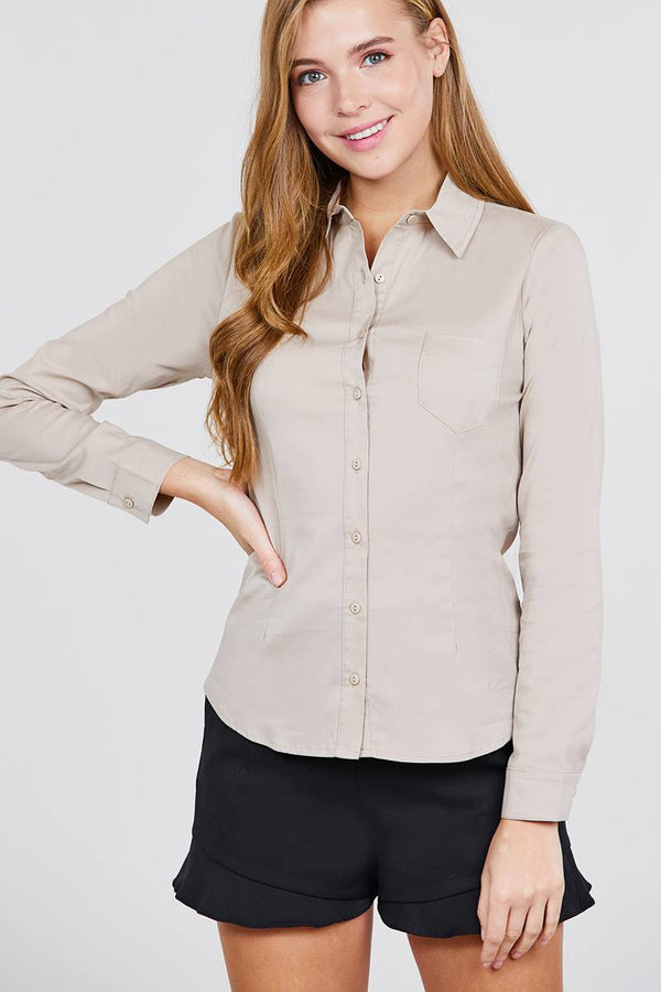 Long Sleeve Princess Line One Side Pocket Button Down Woven Shirts demochatbot Khaki S