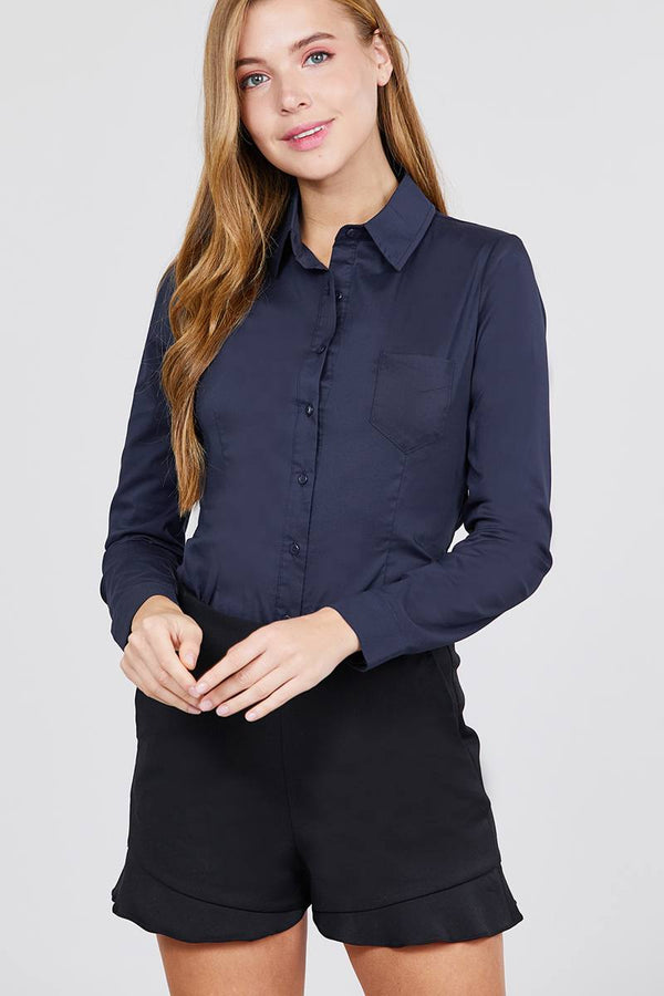 Long Sleeve Princess Line One Side Pocket Button Down Woven Shirts demochatbot New Navy S