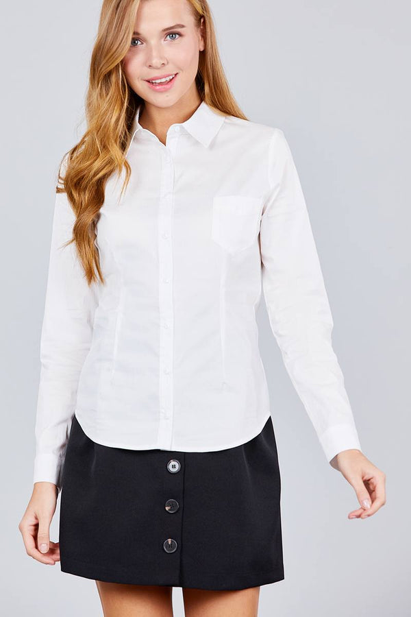 Long Sleeve Princess Line One Side Pocket Button Down Woven Shirts demochatbot Off White S