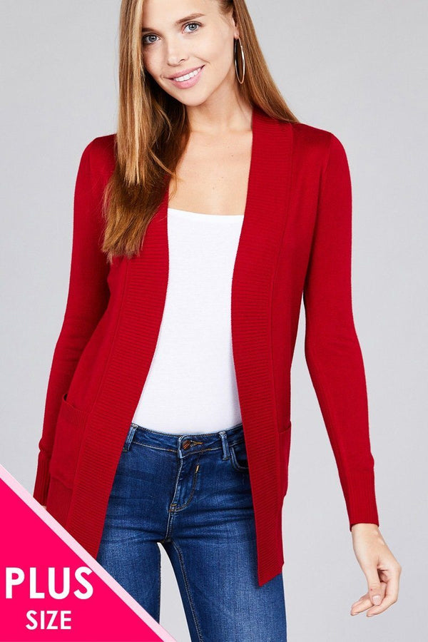 Long Sleeve Rib Banded Open Sweater Cardigan W/pockets demochatbot Ruby Red XL