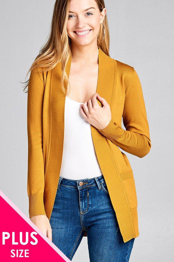 Long Sleeve Rib Banded Open Sweater Cardigan W/pockets demochatbot Sunflower XL