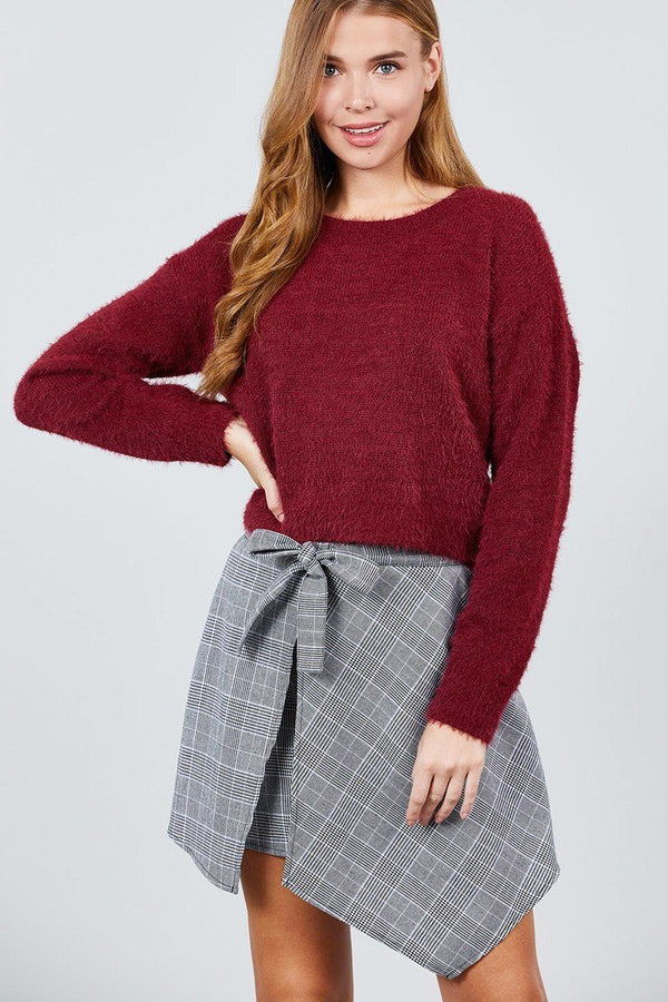 Long Sleeve Round Neck Crop Sweater demochatbot Burgundy S