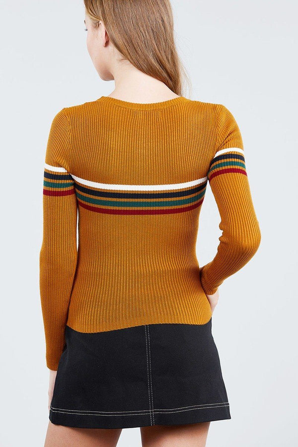 Long Sleeve Round Neck Stripe Sweater Top demochatbot