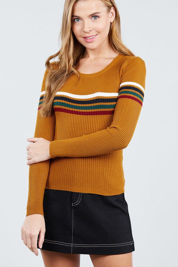 Long Sleeve Round Neck Stripe Sweater Top demochatbot Mustard S