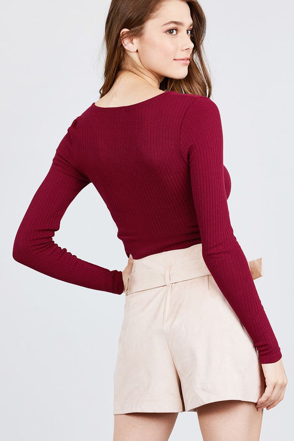 Long Sleeve Surplice Neck Line Button Detail Rib Knit Top demochatbot