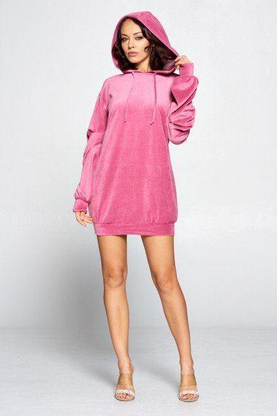 Long Sleeve Sweater Dress - Pinky Petals