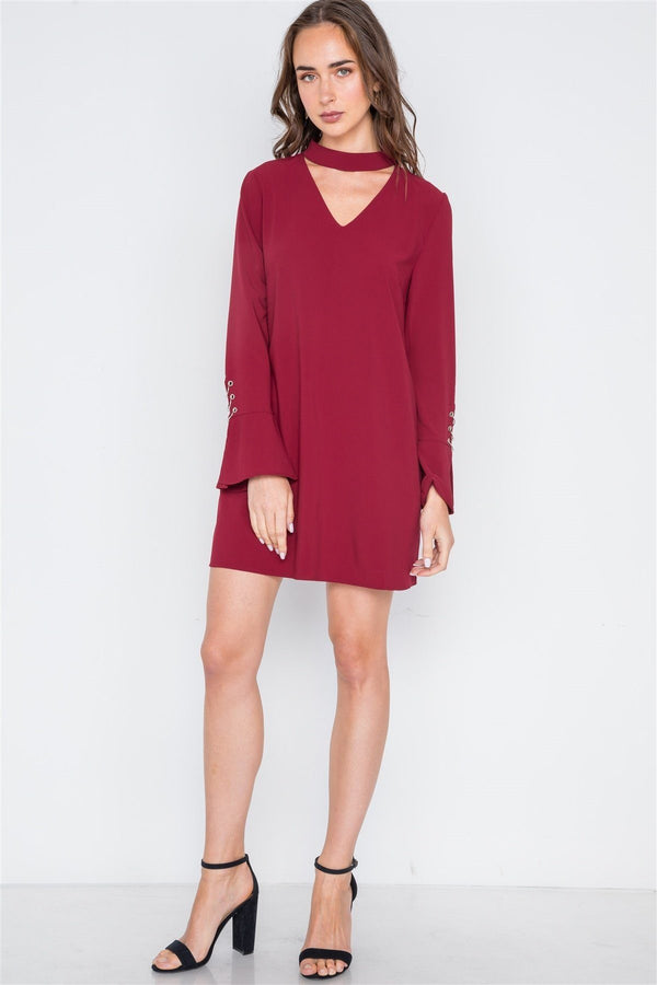 Long Sleeve V-cut Out Solid Mini Dress Pinky Petals