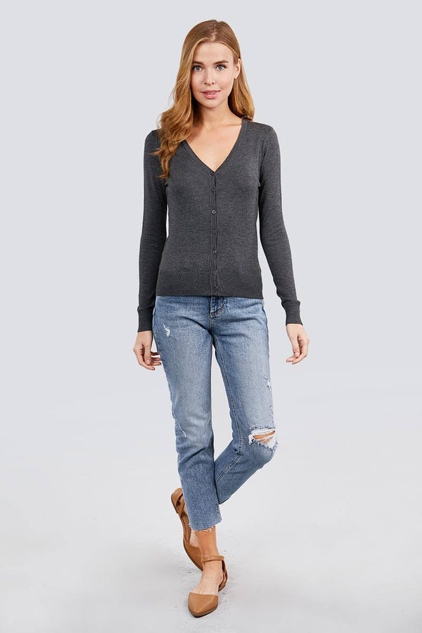 Long Sleeve V-neck Button Down Sweater Cardigan demochatbot