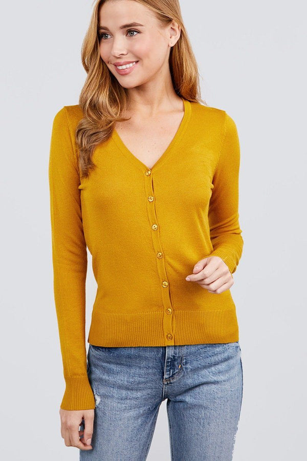 Long Sleeve V-neck Button Down Sweater Cardigan demochatbot Deep Mustard S