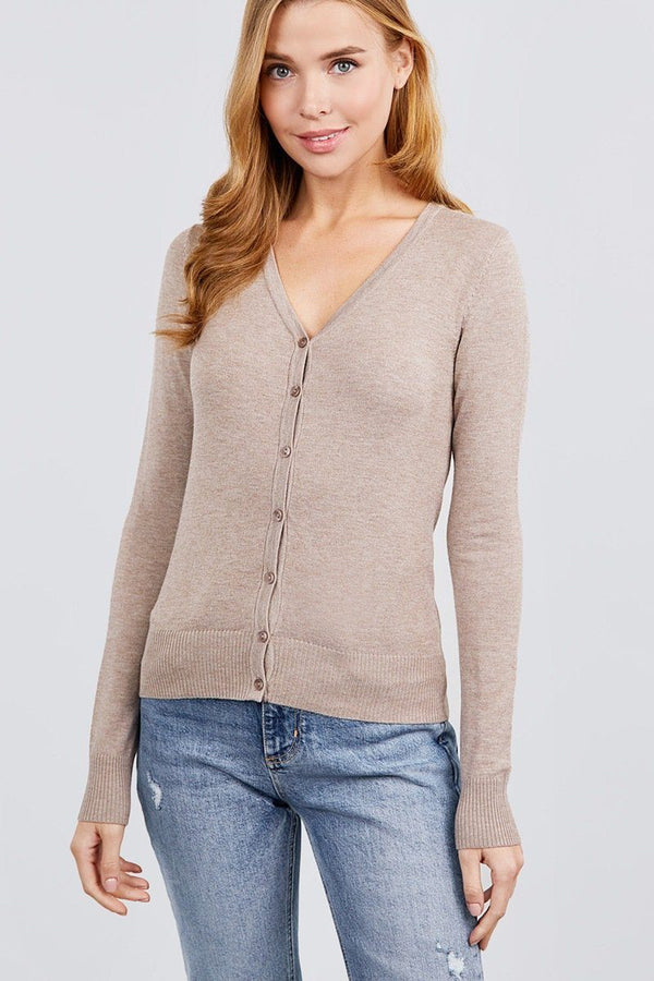 Long Sleeve V-neck Button Down Sweater Cardigan demochatbot Heather Taupe S