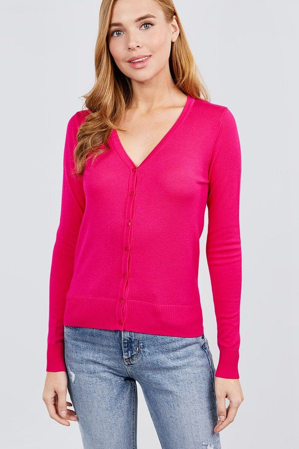 Long Sleeve V-neck Button Down Sweater Cardigan demochatbot Hot Pink S