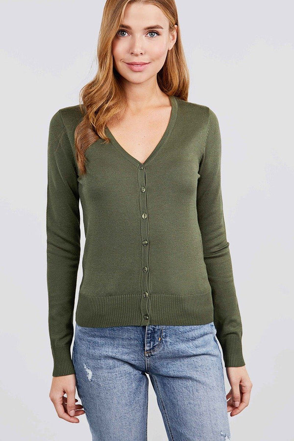 Long Sleeve V-neck Button Down Sweater Cardigan demochatbot Kiwi S