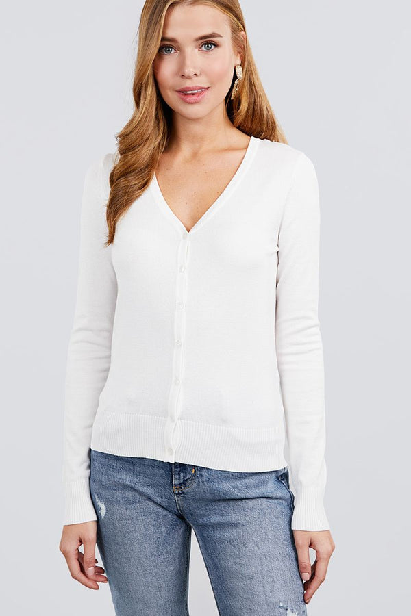 Long Sleeve V-neck Button Down Sweater Cardigan demochatbot White S