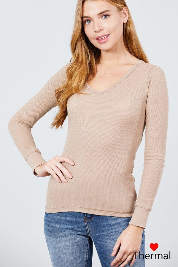 Long Sleeve V-neck Thermal Top demochatbot