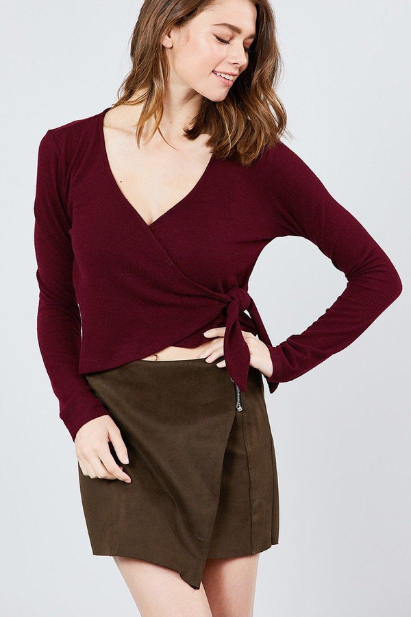 Long Sleeve V-neck Wrapped Tie Brushed Hacci Top demochatbot Burgundy S