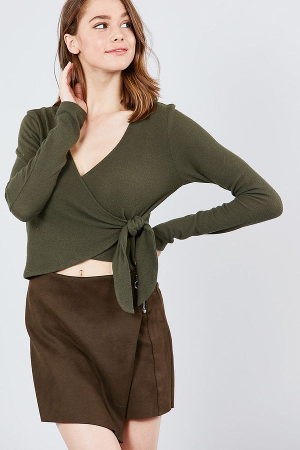 Long Sleeve V-neck Wrapped Tie Brushed Hacci Top demochatbot Olive S