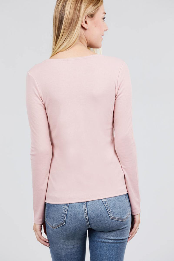 Long Sleeve V-notch Neck Rib Knit Top demochatbot