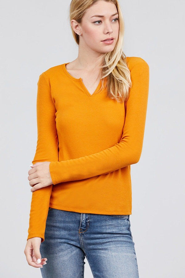 Long Sleeve V-notch Neck Rib Knit Top demochatbot Carrot S