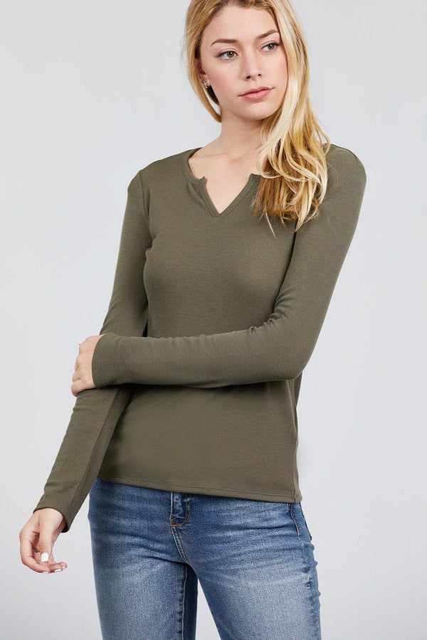 Long Sleeve V-notch Neck Rib Knit Top demochatbot Olive S