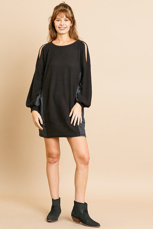 Long Sleeve Waffle Knit Open Shoulder Dress With Heathered Side Panels - Pinky Petals