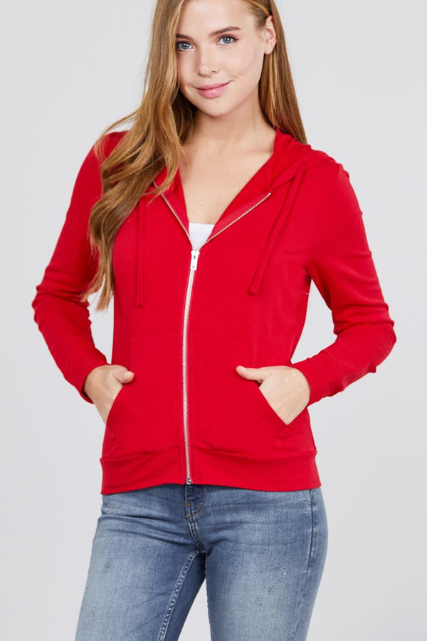 Long Sleeve Zipper French Terry Jacket W/ Kangaroo Pocket demochatbot Red S