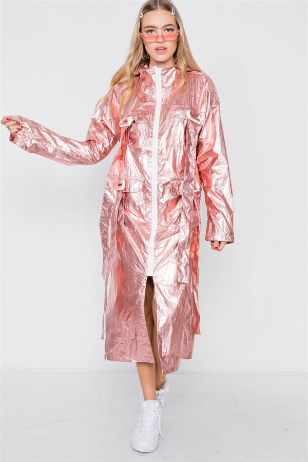Metallic Lightweight Zip-up Jacket demochatbot Rose S