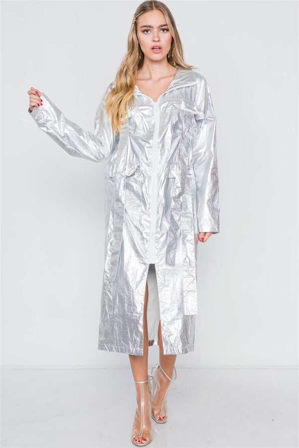 Metallic Lightweight Zip-up Jacket demochatbot Silver S