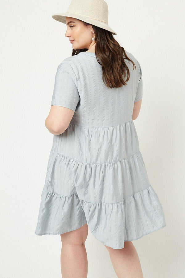 Metallic Stripe Swing Dress demochatbot