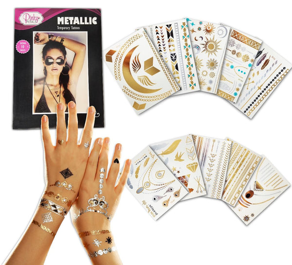 METALLIC TEMPORARY TATTOO - 10 SHEETS WITH OVER 200+ TATTOOS - GOLD SILVER COLOR TEMPORARY TATTOOS - HIGH GLOSS SHIMMER EFFECT demochatbot