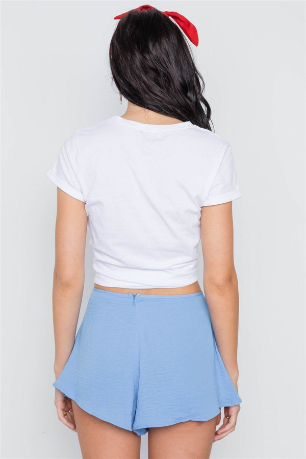 Mid-rise Light Crinkled Self Tie Shorts demochatbot
