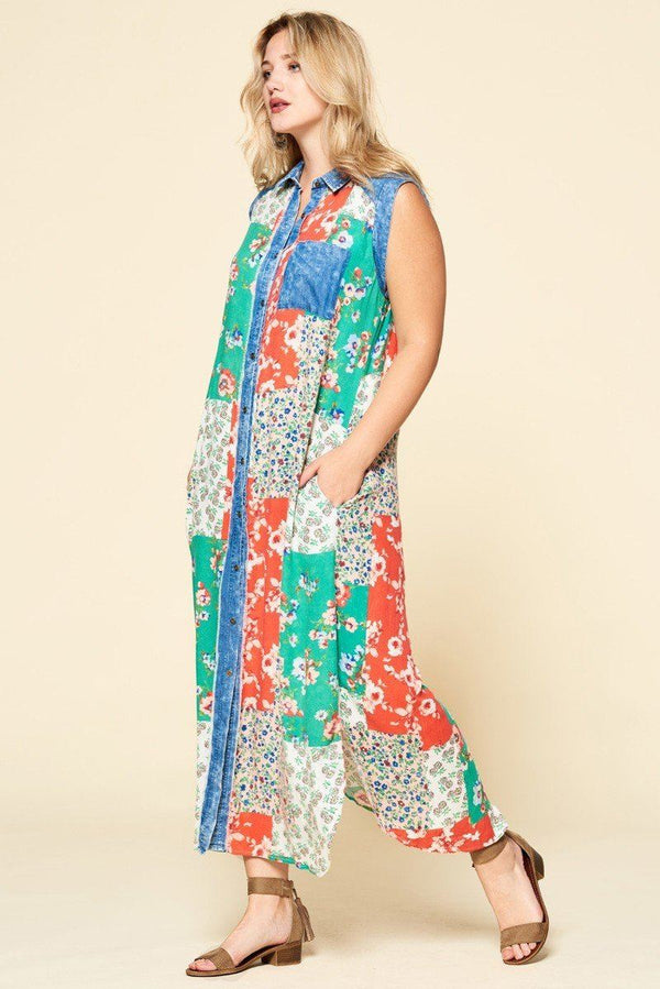 Mixed-floral Patchwork Printed Button-down Maxi Dress demochatbot
