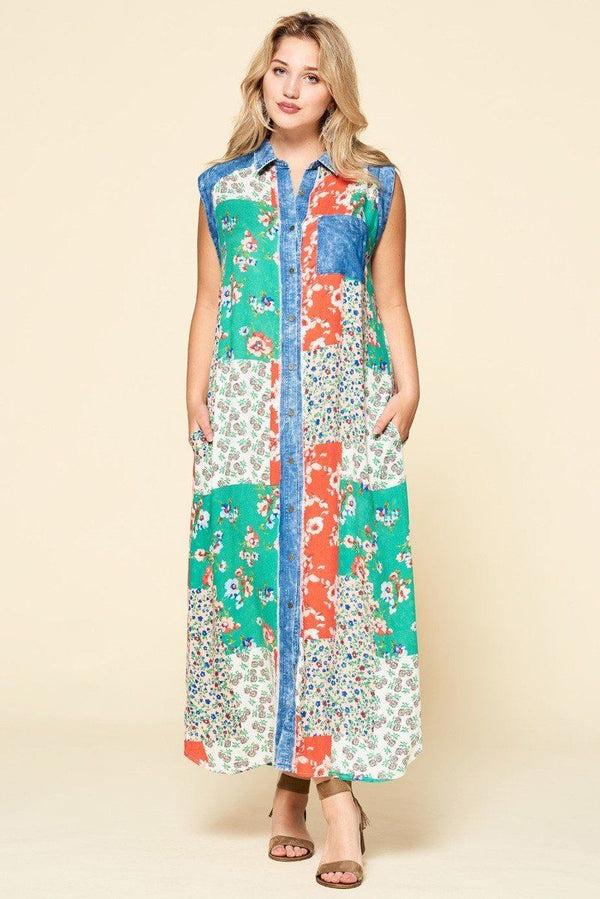 Mixed-floral Patchwork Printed Button-down Maxi Dress demochatbot Denim/Green 1XL