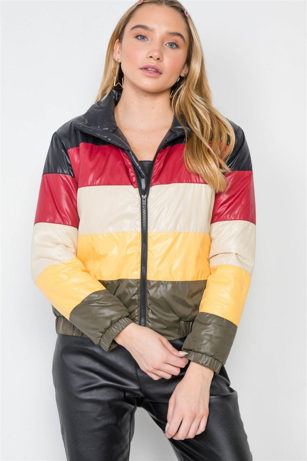 Multi Color Block Zip-up Puffer Jacket demochatbot Black/Multi S