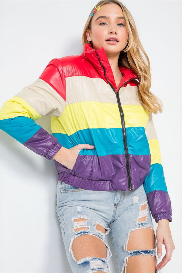 Multi Color Block Zip-up Puffer Jacket demochatbot Red/Multi S