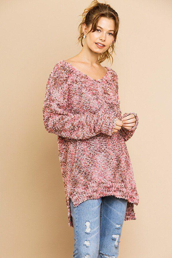 Multi Color Long Sleeve V-neck Soft Knit Pullover demochatbot Pink Mix S