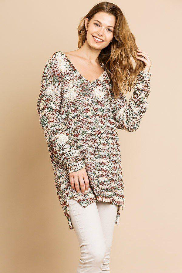 Multi Color Long Sleeve V-neck Soft Knit Pullover demochatbot Tan Mix S