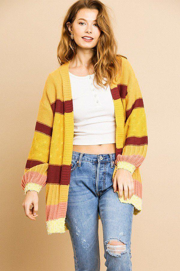 Multi Color Mixed Fabric Long Sleeve Open Front Cardigan Sweater demochatbot