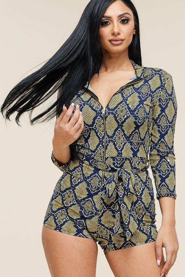 Multi Color Snake Print 3/4 Sleeve Romper demochatbot Neon Yellow 1XL