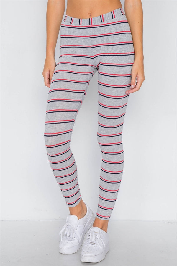 Multi Stripe Ribbed Crop Tube Top & Ankle Legging Set demochatbot