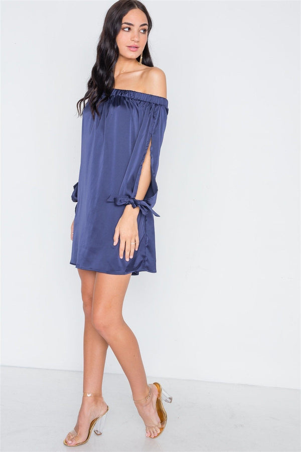 Navy Blue Satin Open Sleeve Satin Mini Dress - Pinky Petals